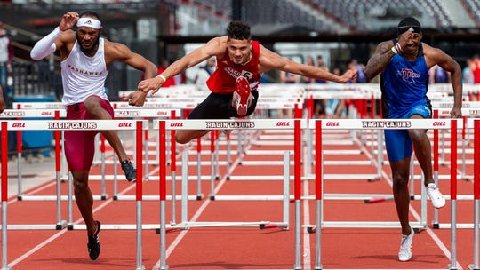 Cajuns Tyler Hughes runs the 110m hurdles as the Louisiana Ragin Cajuns  host the Louisiana Classics track meet. Saturday, March 16, 2019.
