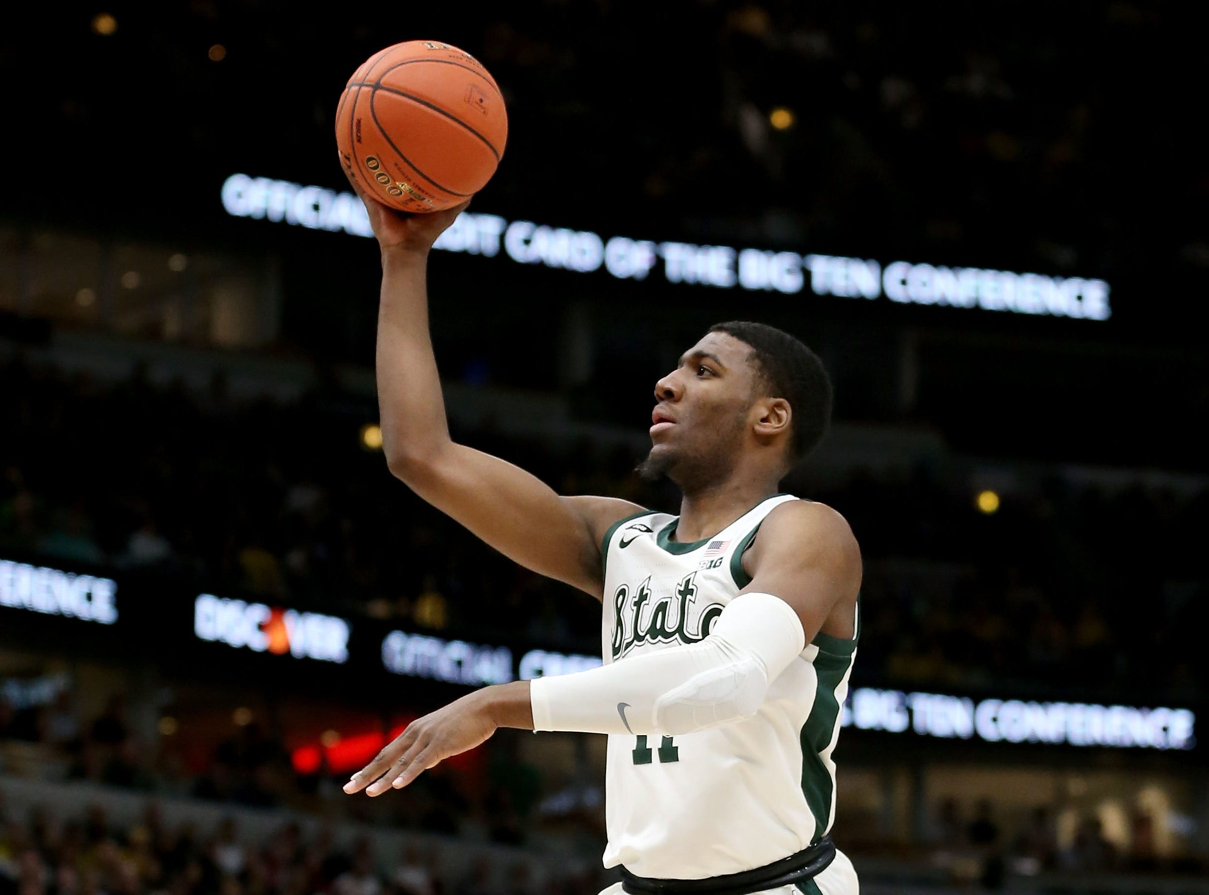Aaron Henry #11 of the Michigan State Spartans attempts a shot in the first half against the Michigan Wolverines during the championship game of the Big Ten Basketball Tournament at the United Center on March 17, 2019 in Chicago, Illinois.