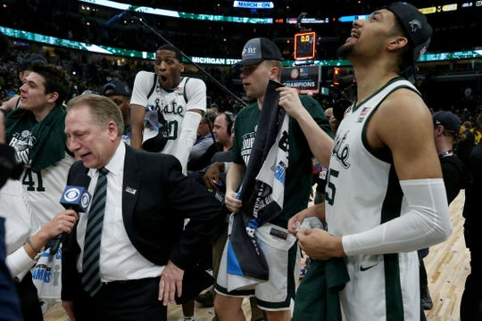 Head coach Tom Izzo of the Michigan State Spartans speaks to the media after beating the Michigan Wolverines 65-60 in the championship game of the Big Ten Basketball Tournament at the United Center on March 17, 2019 in Chicago, Illinois.
