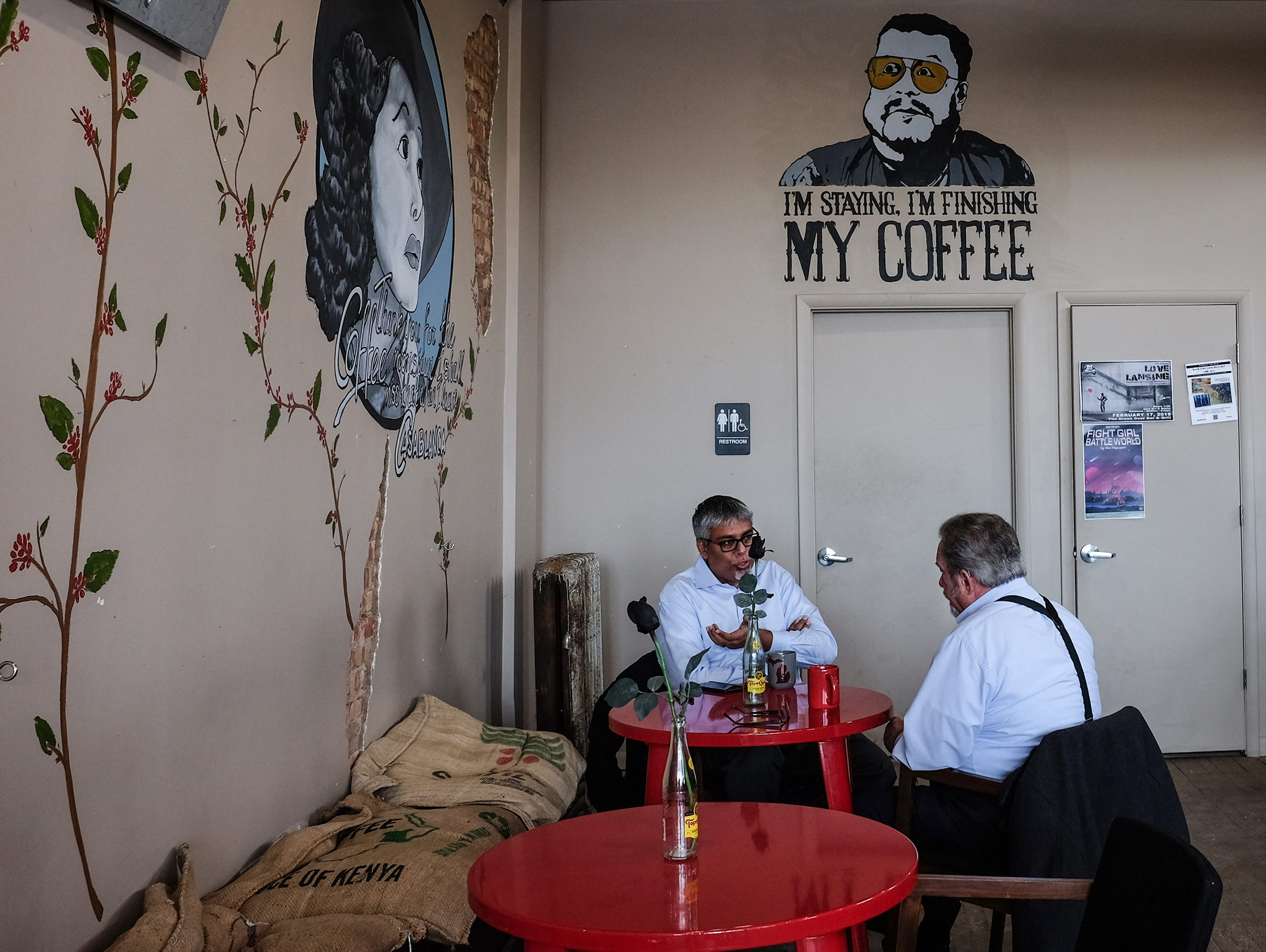 The Crafted Bean in Lansing shown here, and DeWitt, have a unique ambiance as well as craft coffees and a place for conversation.