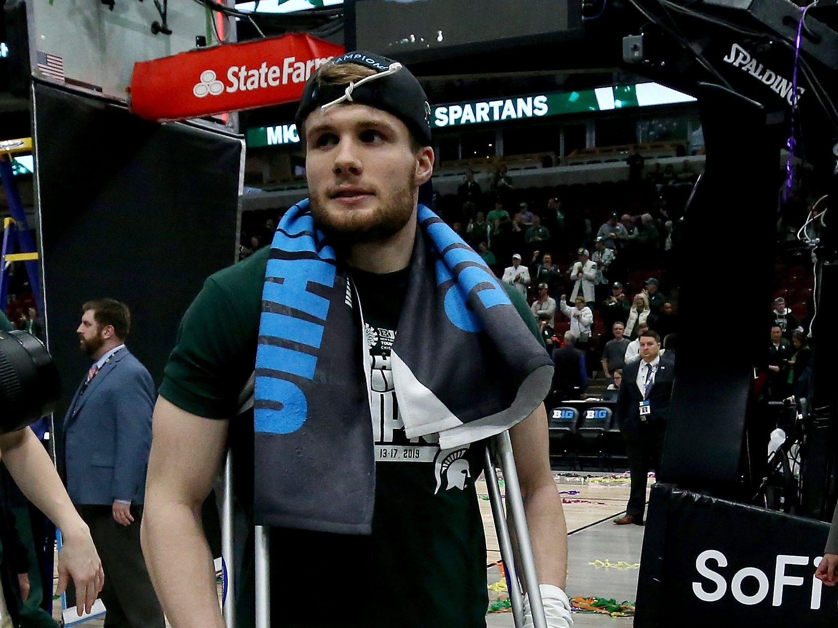CHICAGO, ILLINOIS - MARCH 17:  Kyle Ahrens #0 of the Michigan State Spartans walks off the court after the Michigan State Spartans beat the Michigan Wolverines 65-60 in the championship game of the Big Ten Basketball Tournament at the United Center on March 17, 2019 in Chicago, Illinois. (Photo by Jonathan Daniel/Getty Images)