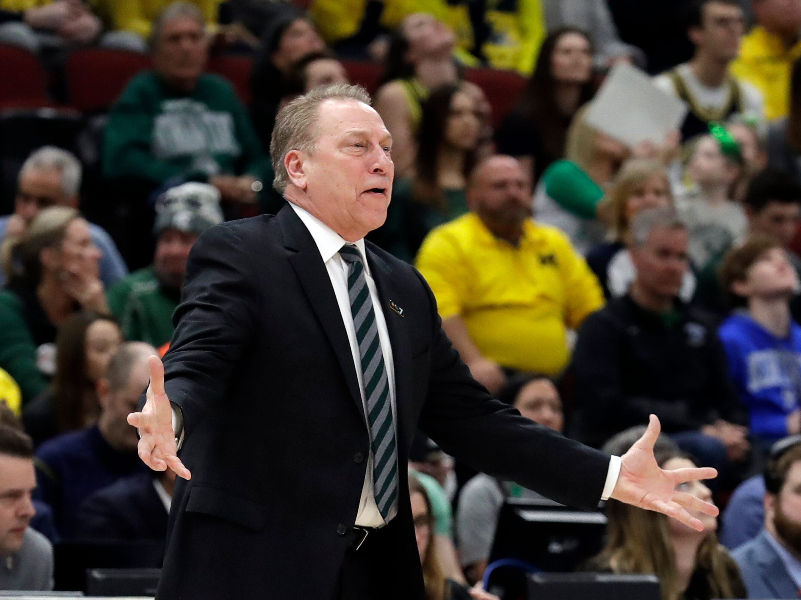 Michigan State head coach Tom Izzo argues a call during the first half of an NCAA college basketball championship game against Michigan in the Big Ten Conference tournament, Sunday, March 17, 2019, in Chicago.