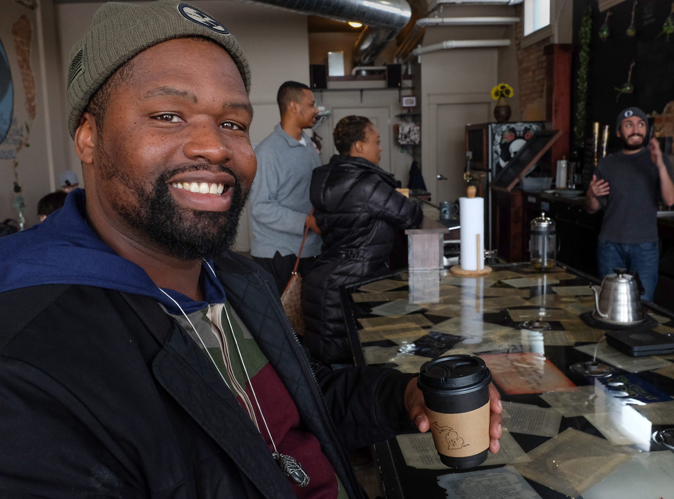 Canaan Johnson, a self-proclaimed coffee connoiseur from Lansing is a regular at The Crafted Bean and enjoys many of the specialty drinks including the Blue Suede consisting of expresso, chocolate, blueberry, grass-fed butter, and raw honey with a drop or two of coconut oil.