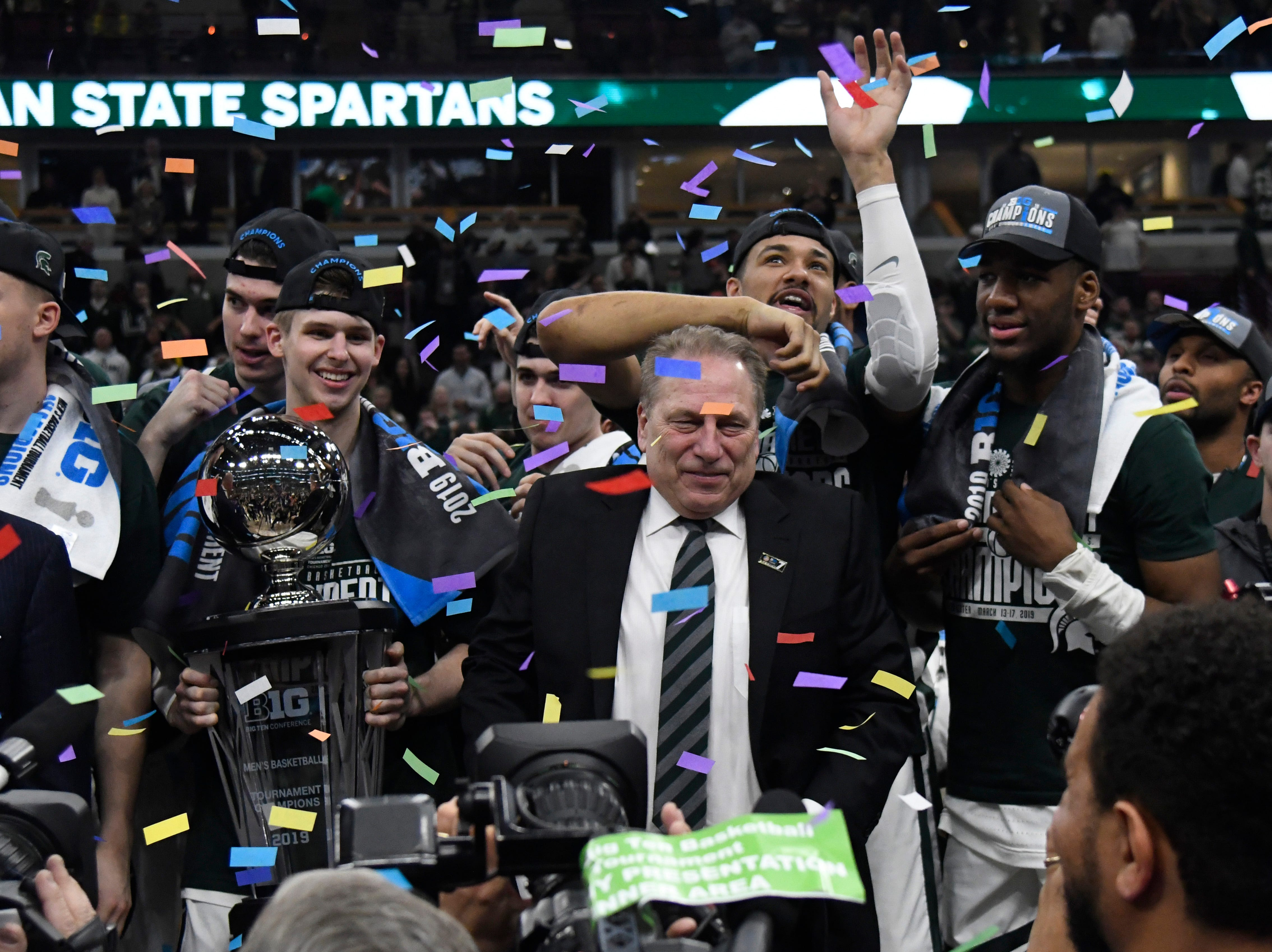 Mar 17, 2019; Chicago, IL, USA; The Michigan State Spartans celebrate their championship against the Michigan Wolverines in the Big Ten conference tournament at United Center. Mandatory Credit: David Banks-USA TODAY Sports