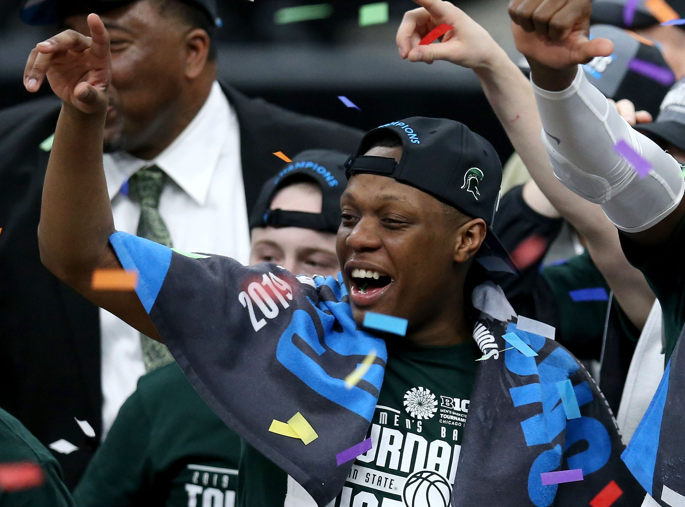 CHICAGO, ILLINOIS - MARCH 17:  Cassius Winston #5 of the Michigan State Spartans celebrates after beating the Michigan Wolverines 65-60 in the championship game of the Big Ten Basketball Tournament at the United Center on March 17, 2019 in Chicago, Illinois. (Photo by Dylan Buell/Getty Images)