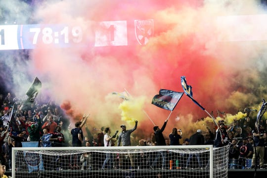 March 16, 2019 - The Bluff City Mafia cheers for the first goal in Memphis 901 FC team history.
