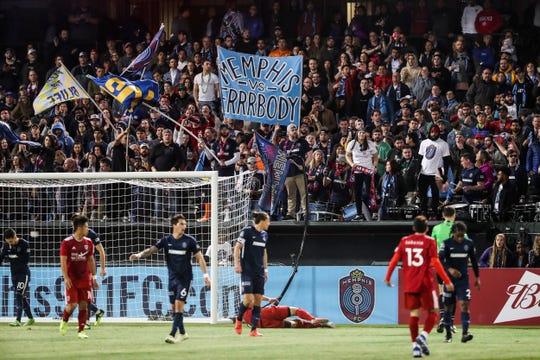 March 16, 2019 - The Bluff City Mafia cheers near the end of Saturday night's game versus Loudoun United FC.