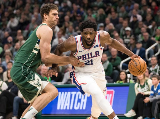 Brook Lopez and the rest of the Bucks had a tough time stopping 76ers center Joel Embiid on Sunday as he scored 40 points and grabbed 15 rebounds in Philadelphia's 130-125 victory at Fiserv Forum.