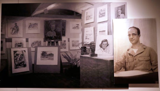 """The Wisconsin Veterans Museum in Madison recently opened an exhibit featuring sketches and letters by Harold Schmitz (pictured at right.) """"In My Spare Moments: The Art of Harold F. Schmitz"""" displays more than 40 sketches done by the Milwaukee veteran, who served in the Pacific in an Army map-making company."""