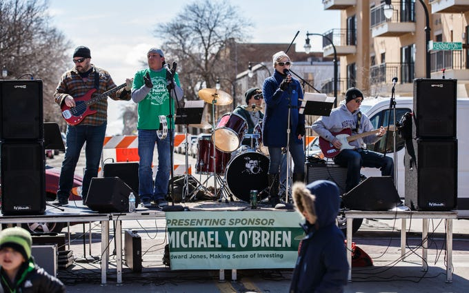 The band In the Know performs on N. Oakland Ave. during the Shorewood Shenanigans street festival on Saturday, March 16, 2019. The annual event features live music, food and drink, games, vendors and more. Nine bars and restaurants along N. Oakland Ave. participate in the fun.