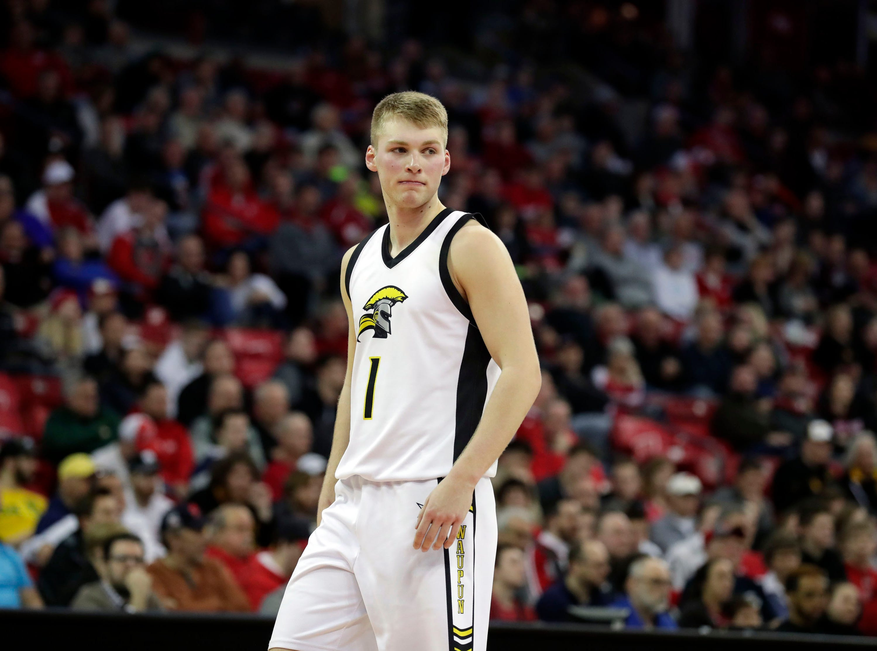 Waupun senior Marcus Domask, who was named Mr. Basketball in Wisconsin on Saturday by the state coaches association, sees a state title elude him Saturday.
