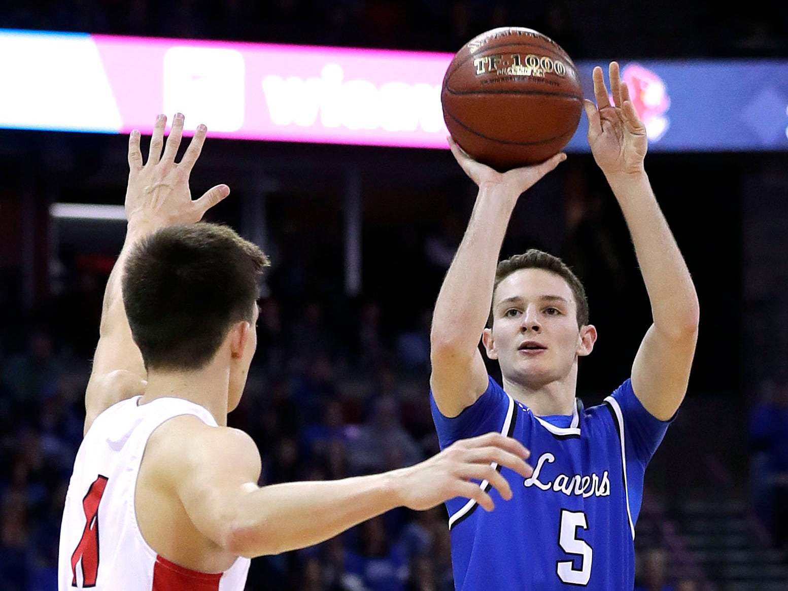 Brookfield Central's Cole Nau puts up a three-pointer against Sun Prairie during the  Division 1 championship game Saturday.