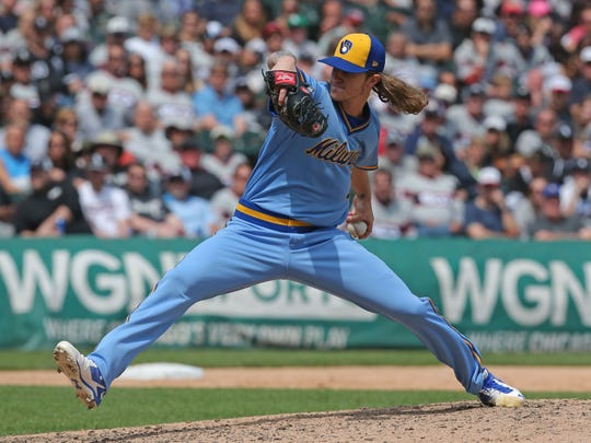 Josh Hader's 143 strikeouts over 81 1/3 innings was the highest total for a left-handed reliever in major-league history.
