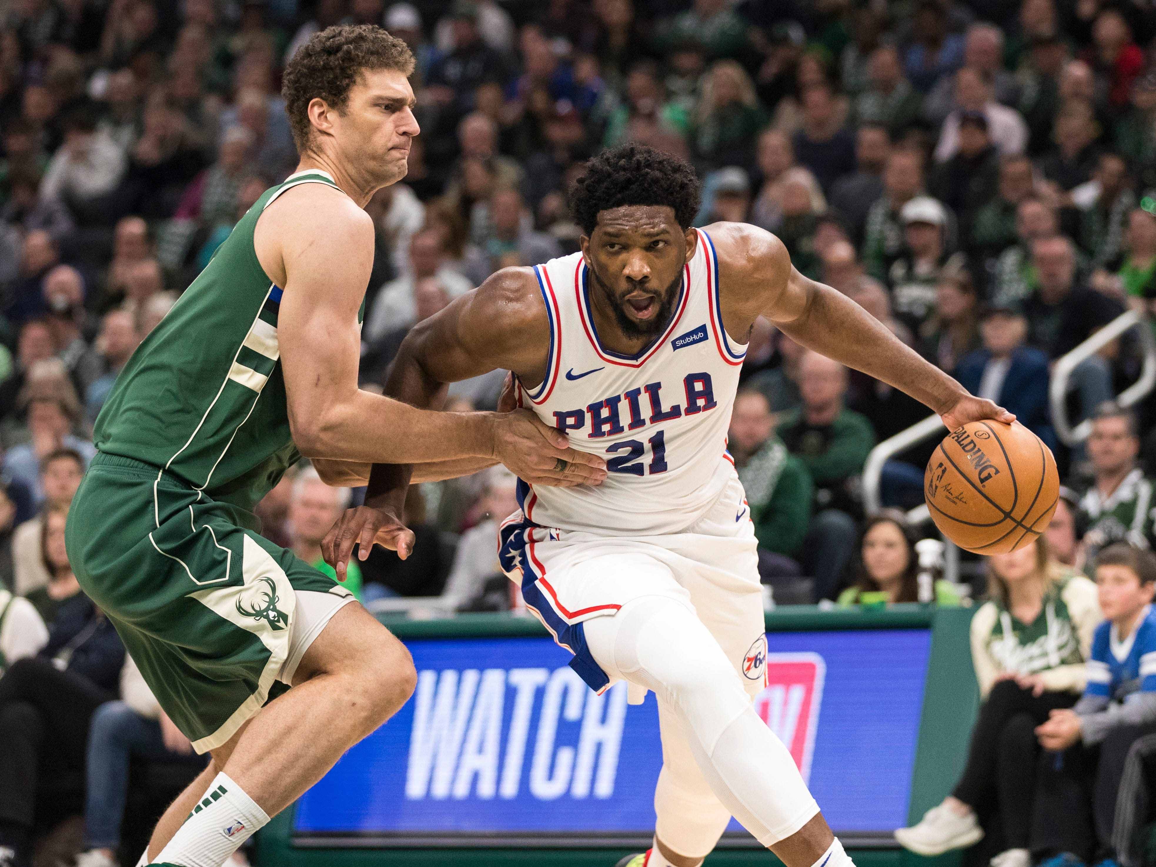 Brook Lopez and the rest of the Bucks had a tough time stopping 76ers center Joel Embiid as he scored 40 points and grabbed 15 rebounds in Philadelphia's victory.
