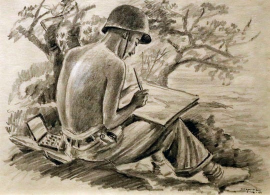 Harold Schmitz drew this picture of a fellow soldier in the Army's 955th Topographic Engineer Co. sketching in the South Pacific during World War II. Schmitz grew up in Milwaukee and was a commercial artist when he was drafted in 1942.