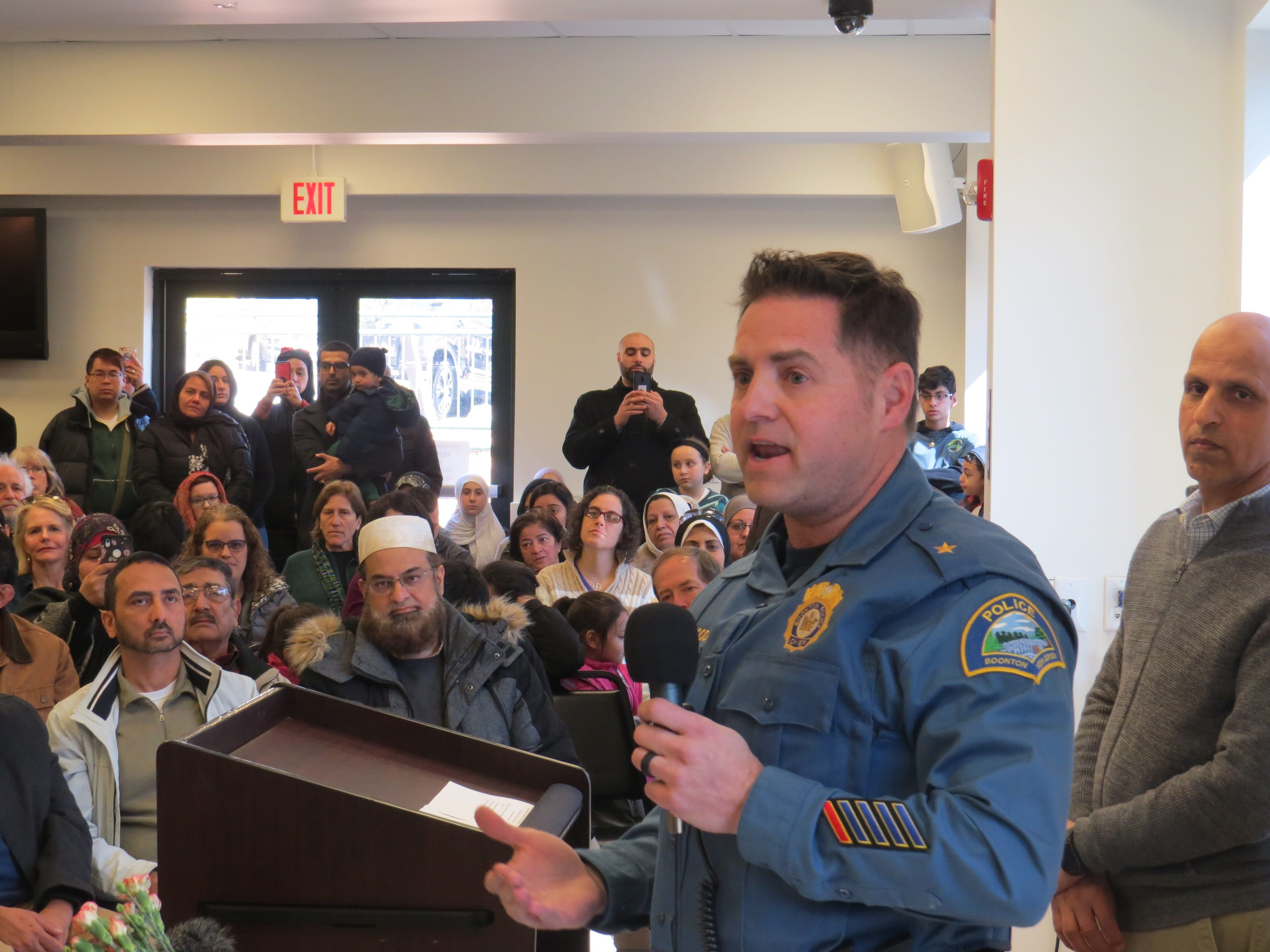Boonton Police Chief David Mayhood speaks at a prayer vigil and march in remembrance of victims of recent mosque attacks in New Zealand drew hundreds to the Jam-E-Masjid Islamic Center in Boonton March 17, 2019.