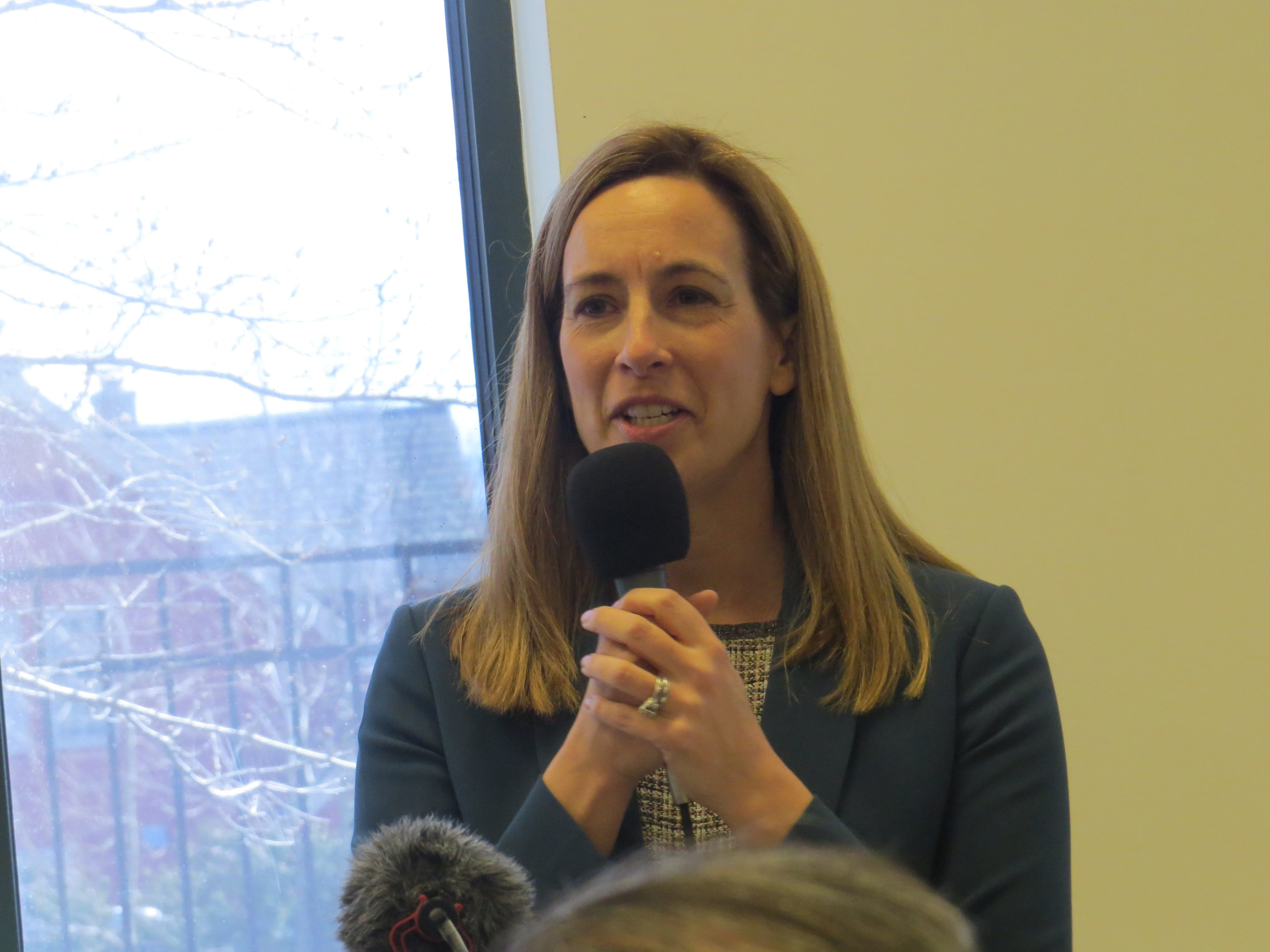 Rep. Mikie Sherrill speaks at a prayer vigil and march in remembrance of victims of recent mosque attacks in New Zealand drew hundreds to the Jam-E-Masjid Islamic Center in Boonton March 17, 2019.