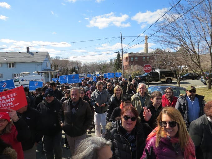 A prayer vigil and march in remembrance of victims of recent mosque attacks in New Zealand drew hundreds to the Jam-E-Masjid Islamic Center in Boonton March 17, 2019.