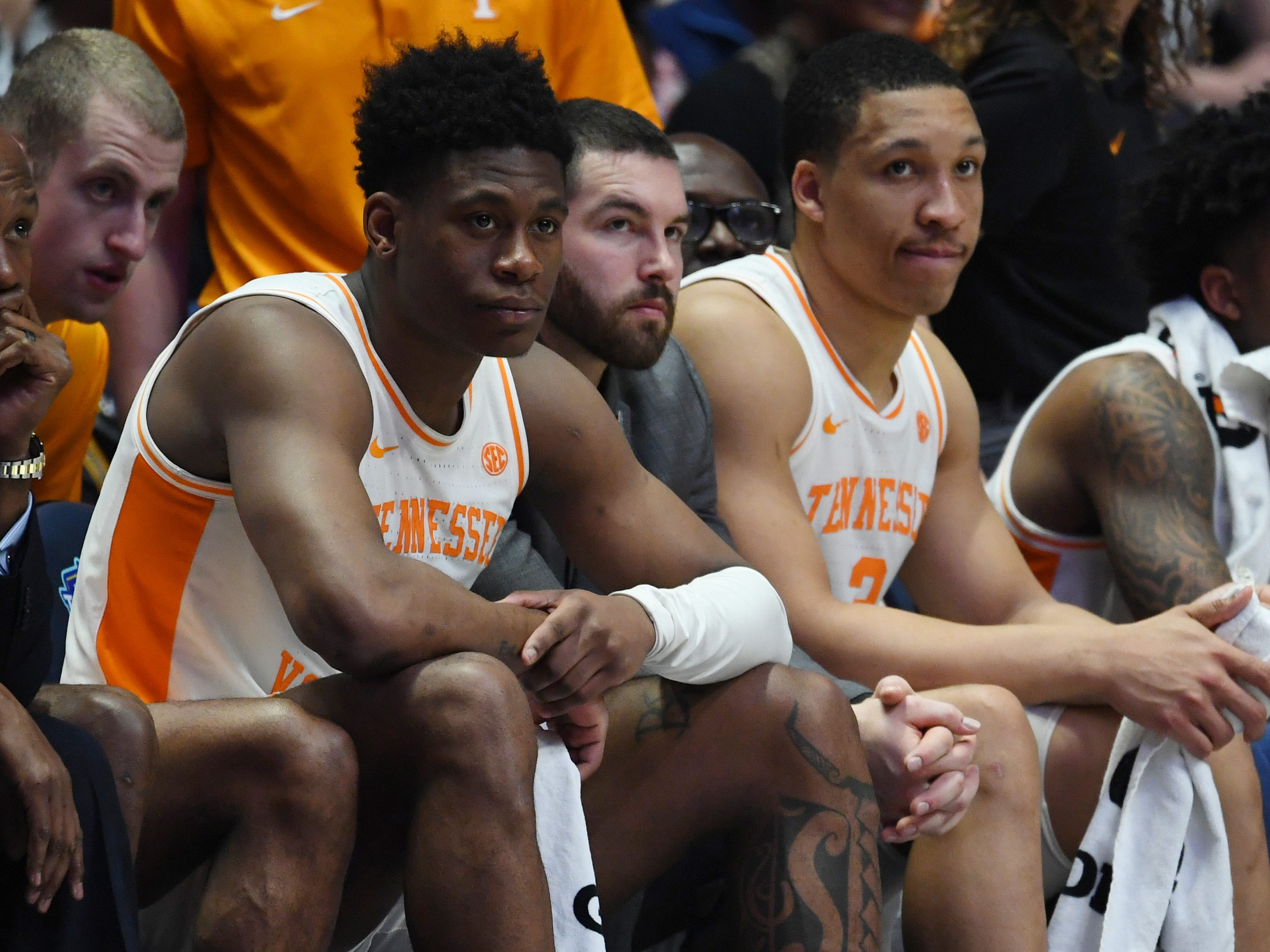 Mar 17, 2019; Nashville, TN, USA; Tennessee Volunteers guard Admiral Schofield (5) and Tennessee Volunteers forward Grant Williams (2) late in a loss to Auburn Tigers in the SEC conference tournament championship game at Bridgestone Arena. Mandatory Credit: Christopher Hanewinckel-USA TODAY Sports