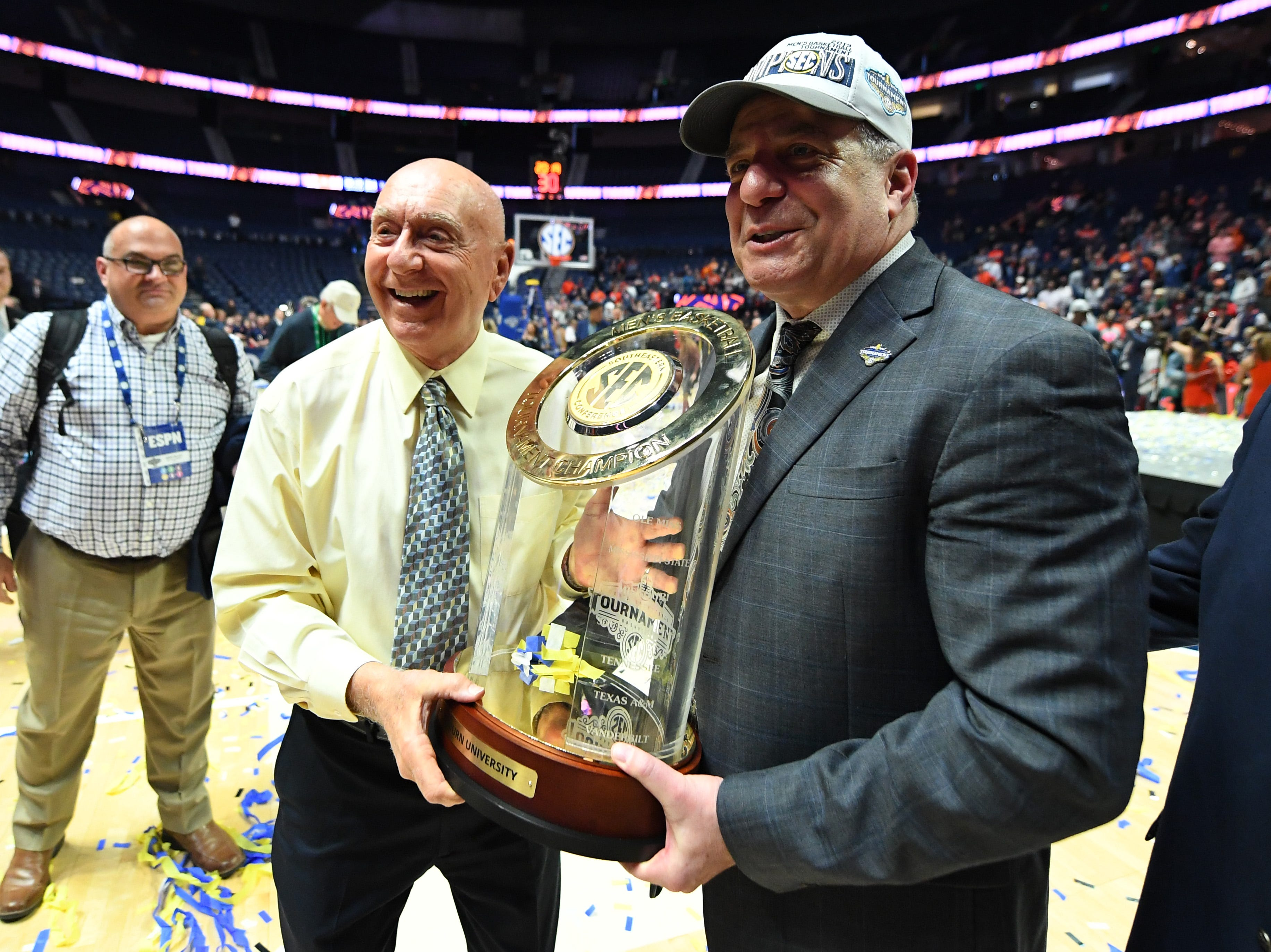 Mar 17, 2019; Nashville, TN, USA; Auburn Tigers head coach Bruce Pearl poses with ESPN analyst Dick Vitale after beating the Tennessee Volunteers in the SEC conference tournament championship game at Bridgestone Arena. Mandatory Credit: Christopher Hanewinckel-USA TODAY Sports