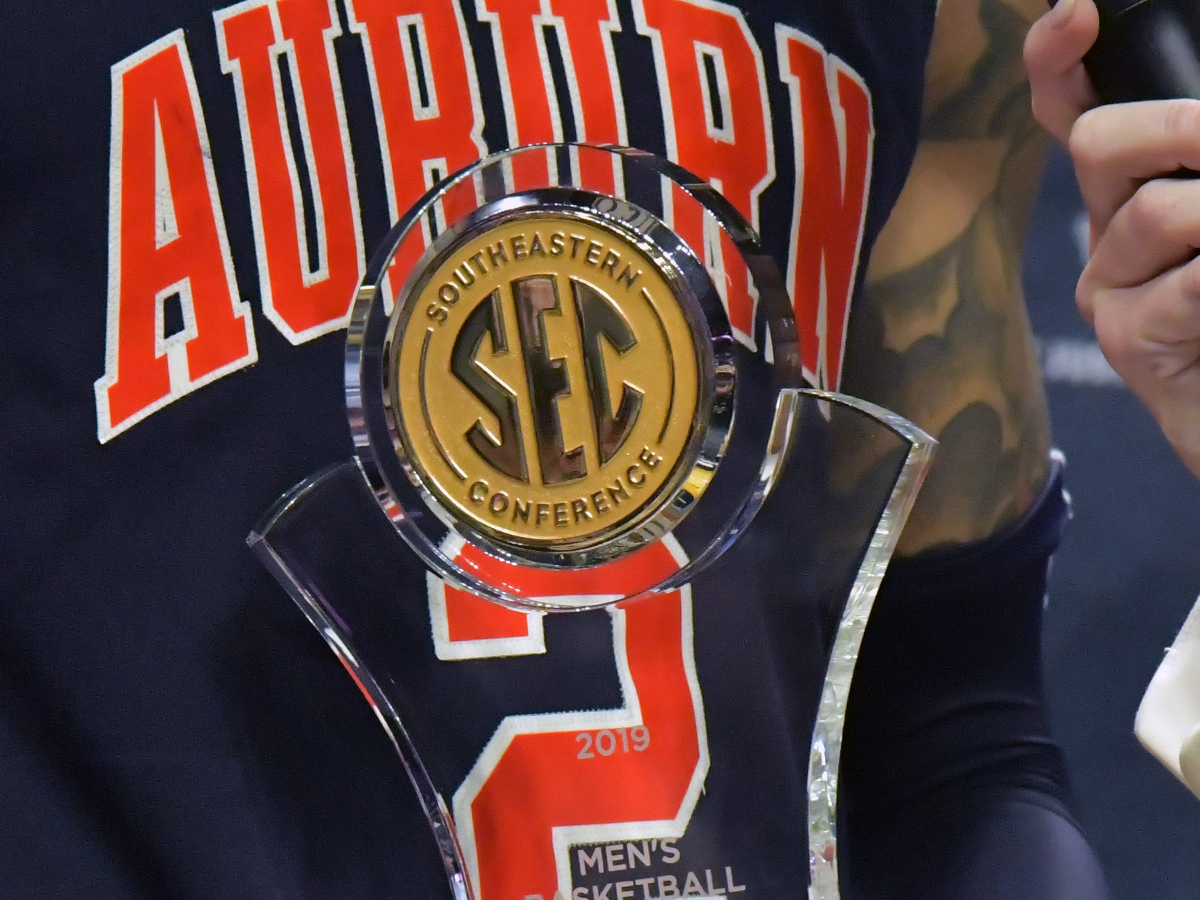Mar 17, 2019; Nashville, TN, USA; Auburn Tigers guard Bryce Brown (2) holds the Most Valuable Player award following the championship game between the Tennessee Volunteers and the Auburn Tigers  in the SEC conference tournament at Bridgestone Arena. Auburn won 84-64. Mandatory Credit: Jim Brown-USA TODAY Sports