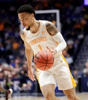 Tennessee guard Lamonte Turner plays against Mississippi State in the second half of an NCAA college basketball game at the Southeastern Conference tournament Friday, March 15, 2019, in Nashville, Tenn. Tennessee won 83-76. (AP Photo/Mark Humphrey)