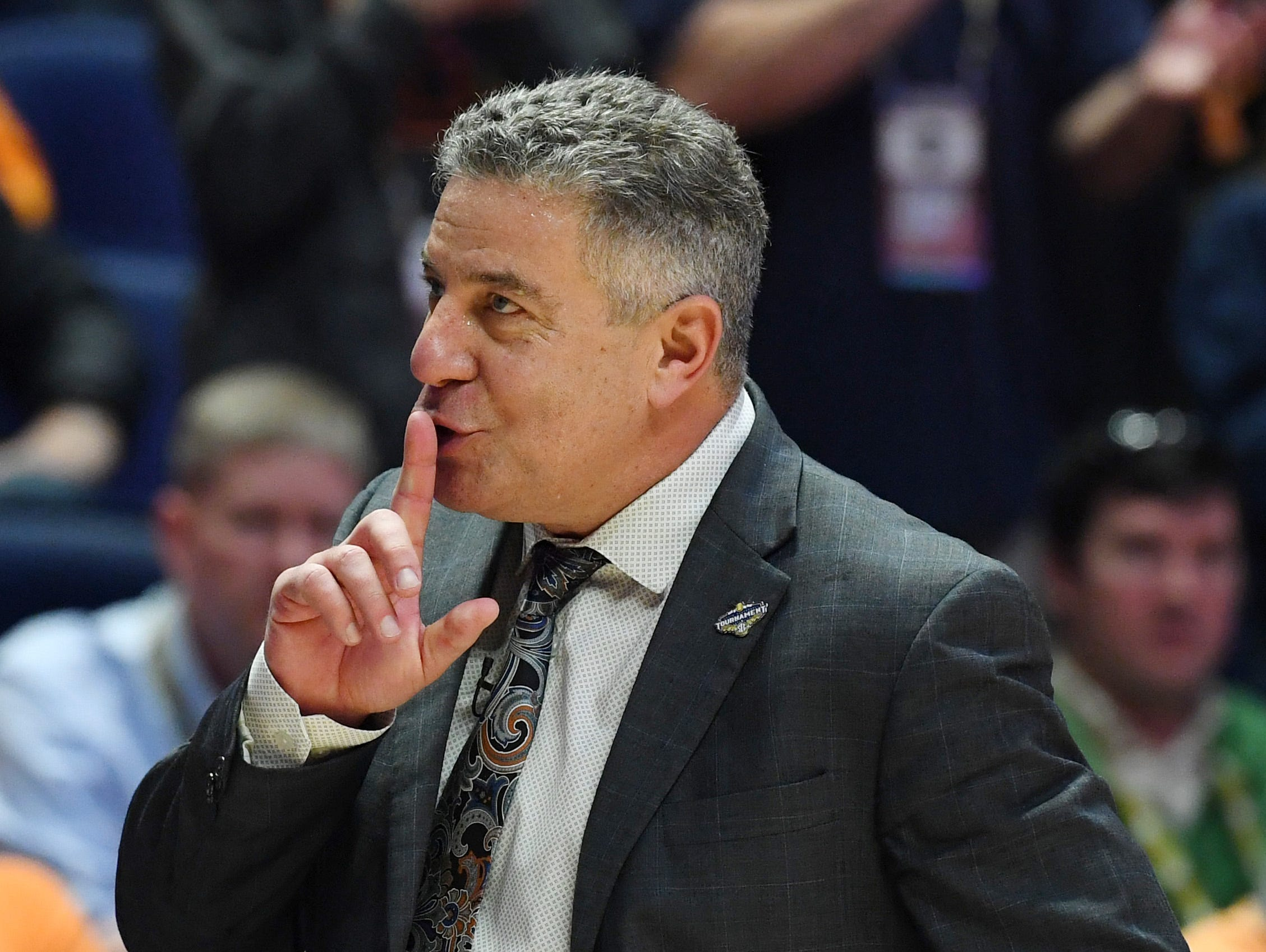 Mar 17, 2019; Nashville, TN, USA; Auburn Tigers head coach Bruce Pearl during the second half against the Tennessee Volunteers in the SEC conference tournament championship game at Bridgestone Arena. Mandatory Credit: Christopher Hanewinckel-USA TODAY Sports