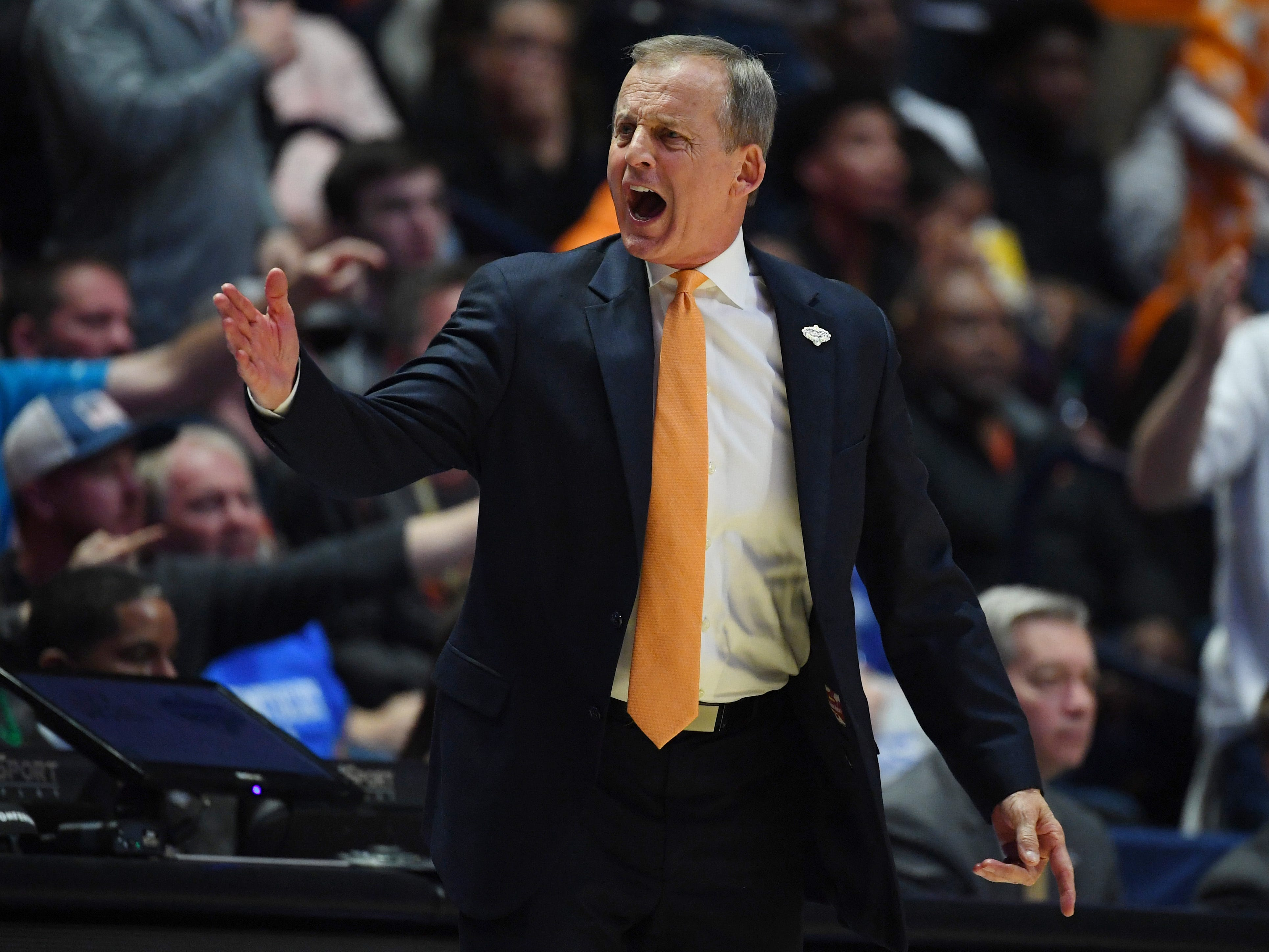 Mar 17, 2019; Nashville, TN, USA; Tennessee Volunteers head coach Rick Barnes during the second half against the Auburn Tigers in the SEC conference tournament championship game at Bridgestone Arena. Mandatory Credit: Christopher Hanewinckel-USA TODAY Sports