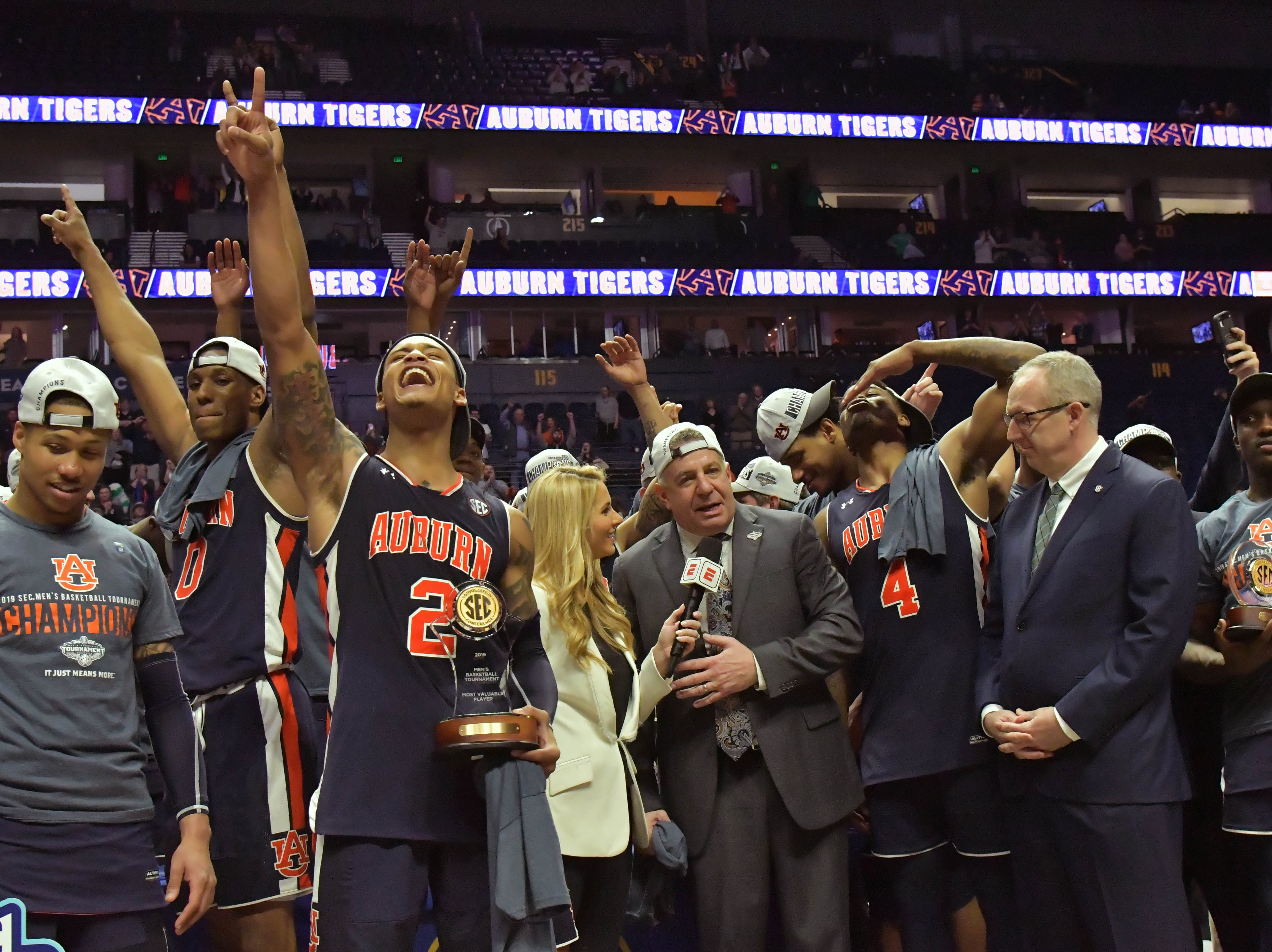 Mar 17, 2019; Nashville, TN, USA; following the championship game between the Tennessee Volunteers and the Auburn Tigers  in the SEC conference tournament at Bridgestone Arena. Auburn won 84-64. Mandatory Credit: Jim Brown-USA TODAY Sports