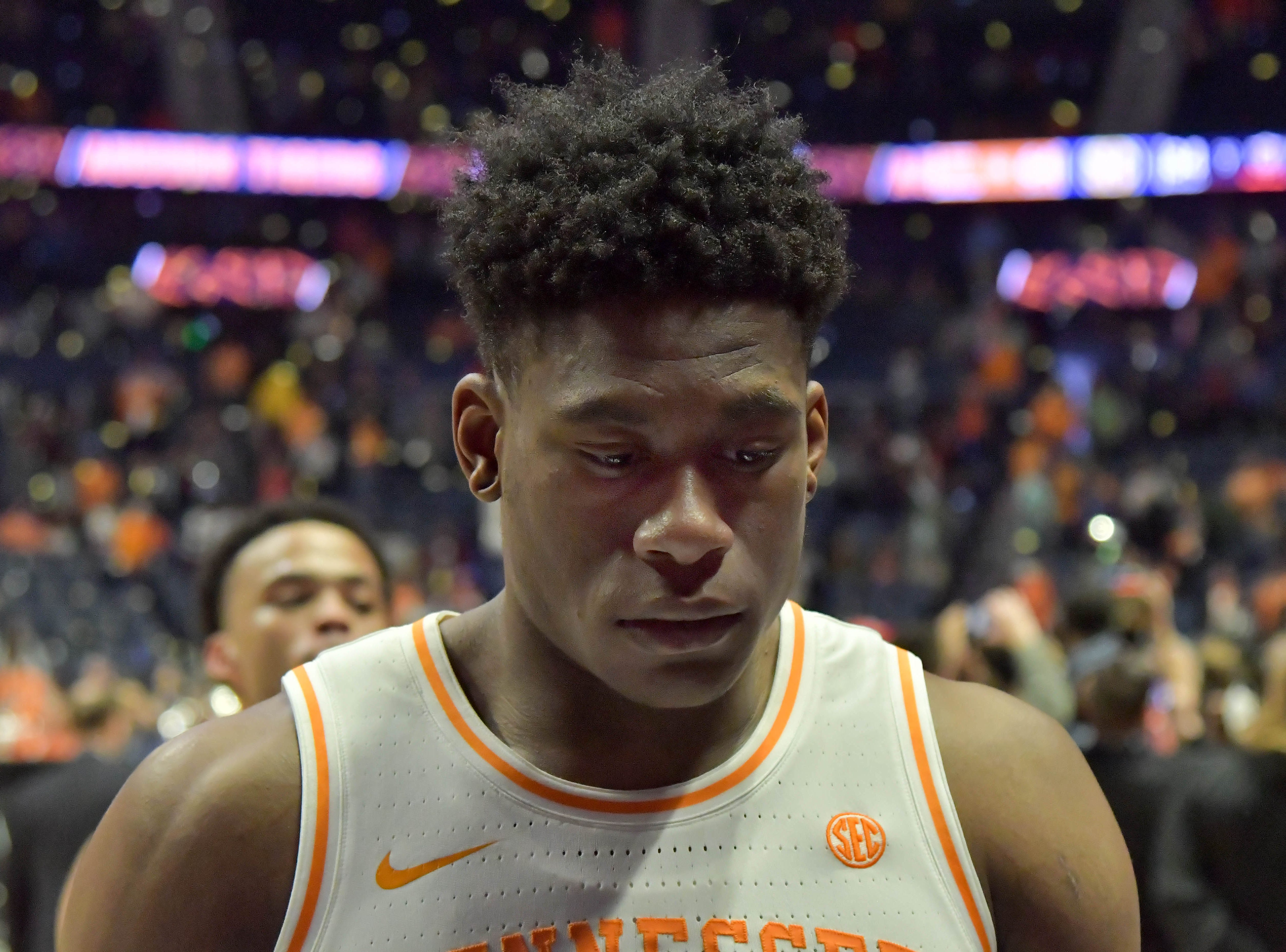 Mar 17, 2019; Nashville, TN, USA; Tennessee Volunteers guard Admiral Schofield (5) leaves the court after losing to the Auburn Tigers in the championship game of the SEC conference tournament at Bridgestone Arena. Auburn won 84-64. Mandatory Credit: Jim Brown-USA TODAY Sports