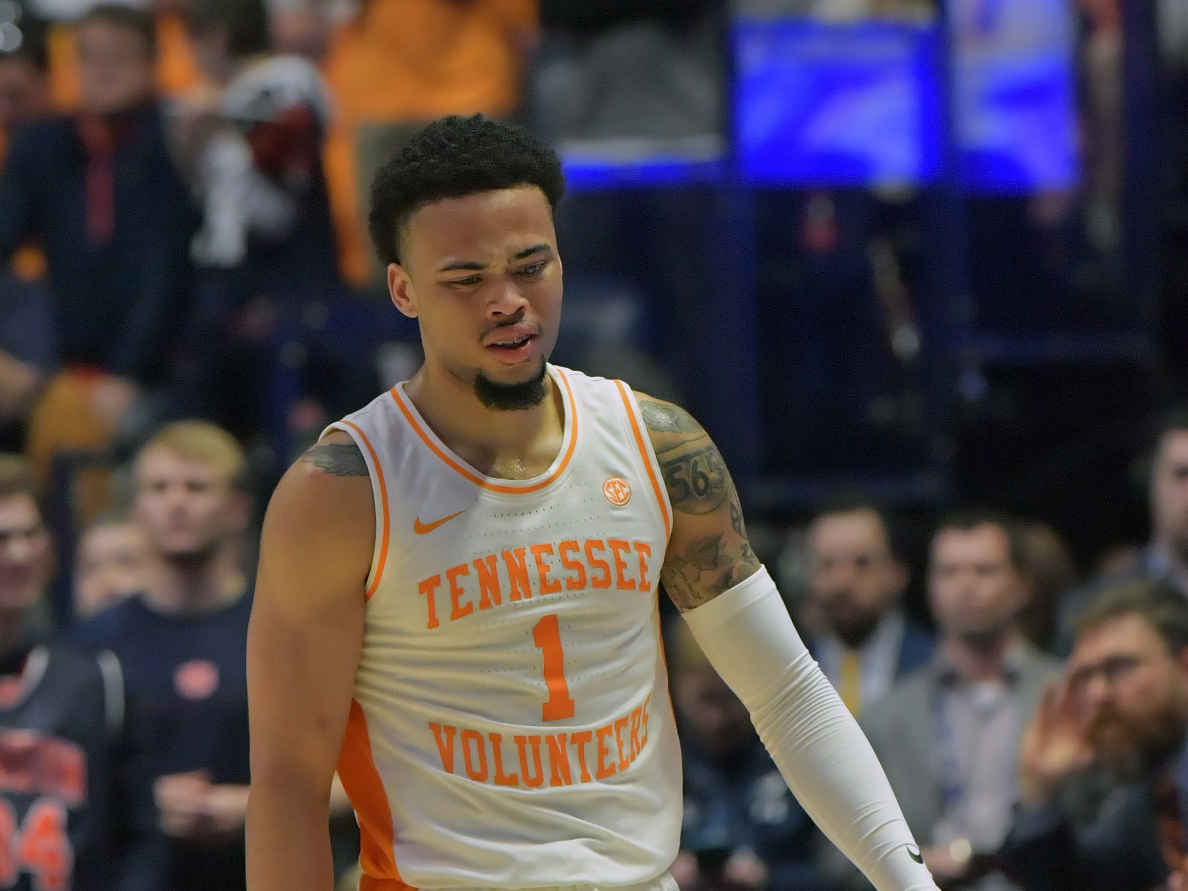 Mar 17, 2019; Nashville, TN, USA; Tennessee Volunteers guard Lamonte Turner (1) reacts after making a foul against the Auburn Tigers during the second half of the championship game in the SEC conference tournament at Bridgestone Arena. Auburn won 84-64. Mandatory Credit: Jim Brown-USA TODAY Sports