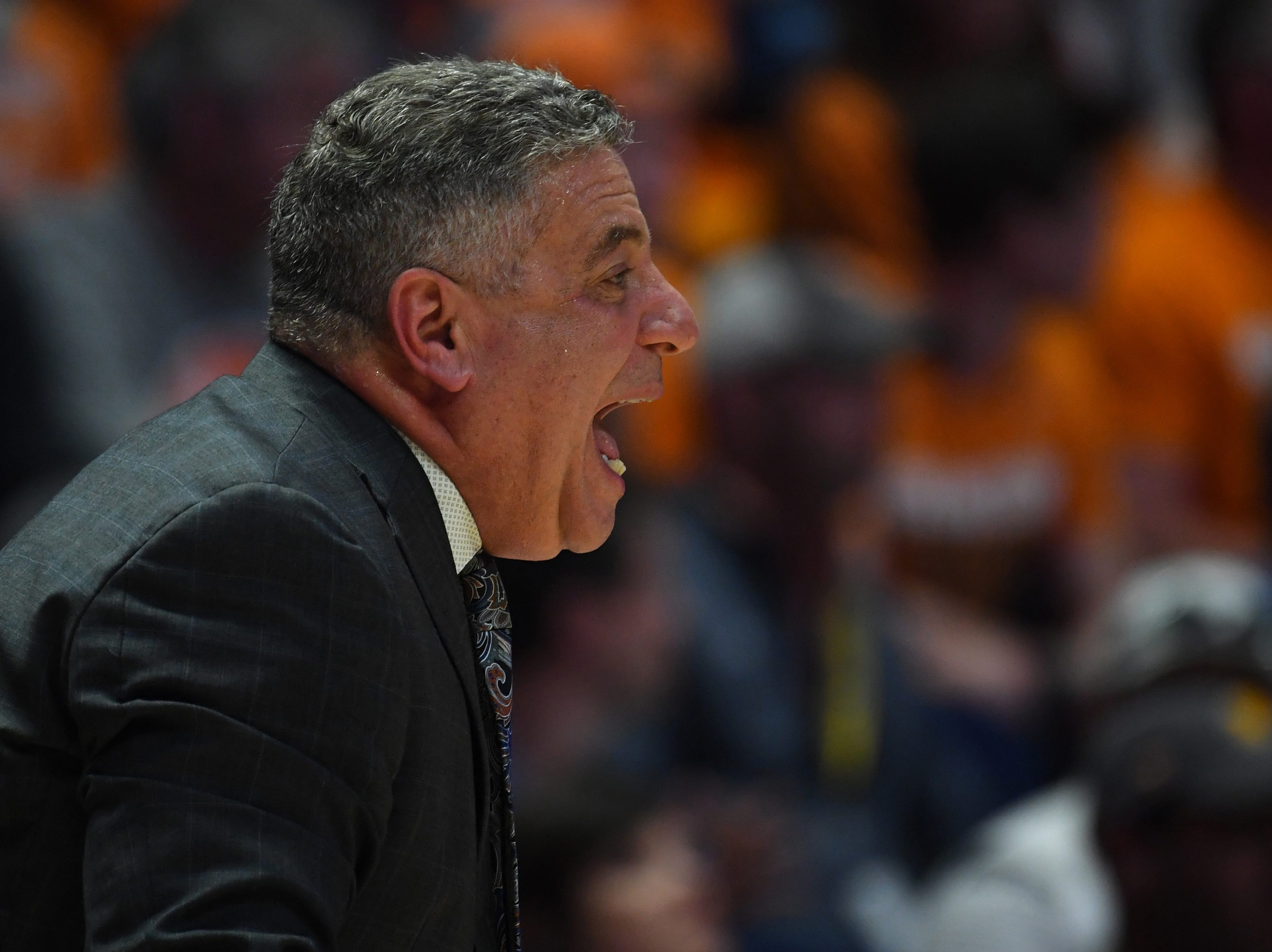 Mar 17, 2019; Nashville, TN, USA; Auburn Tigers head coach Bruce Pearl during the first half against the Tennessee Volunteers in the SEC conference tournament championship game at Bridgestone Arena. Mandatory Credit: Christopher Hanewinckel-USA TODAY Sports