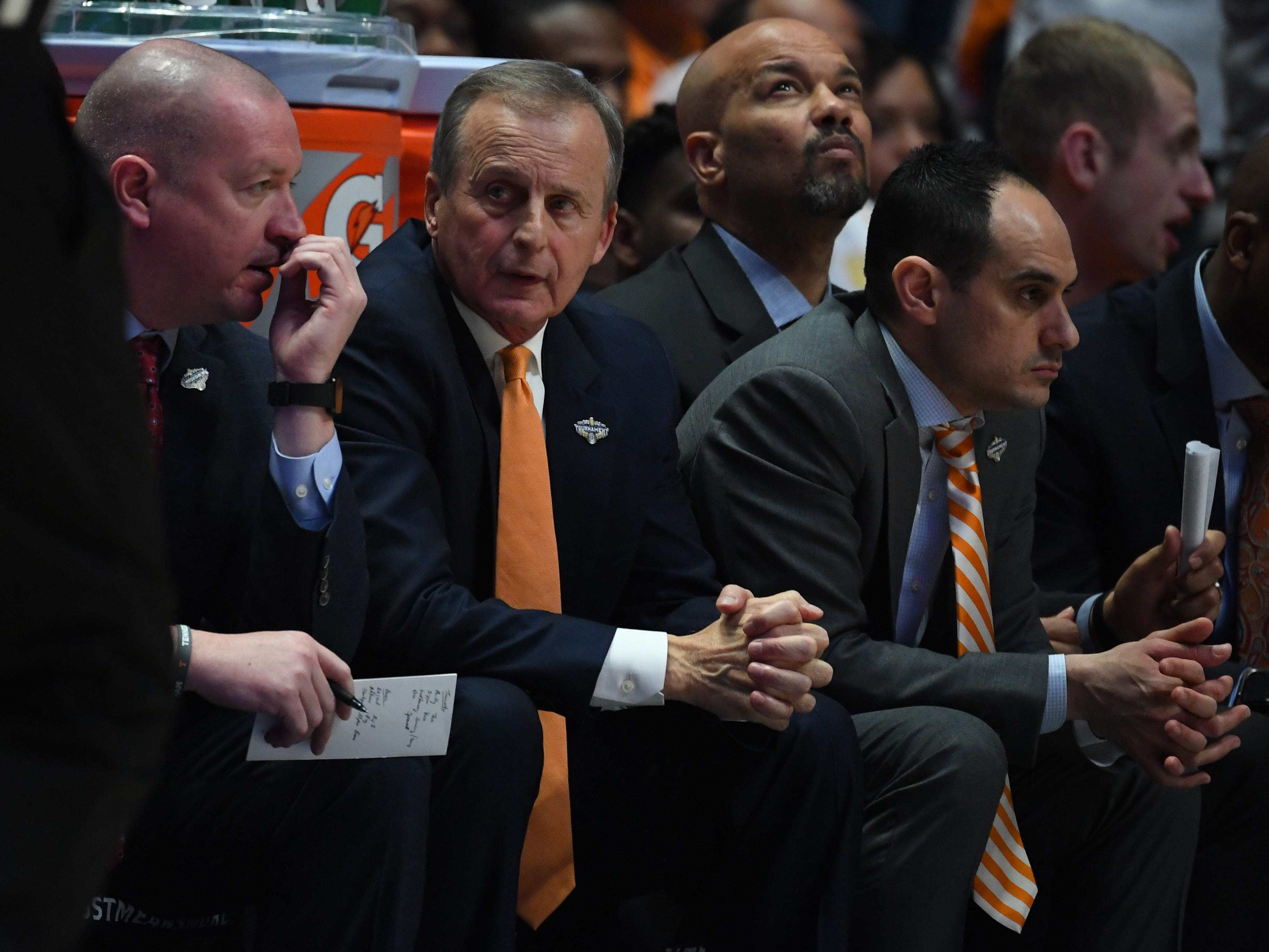 Mar 17, 2019; Nashville, TN, USA; Tennessee Volunteers head coach Rick Barnes looks on from the bench during the first half against the Auburn Tigers in the SEC conference tournament championship game at Bridgestone Arena. Mandatory Credit: Christopher Hanewinckel-USA TODAY Sports