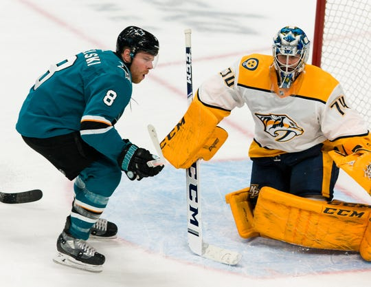 San Jose Sharks center Joe Pavelski (8) reacts after Nashville Predators goaltender Juuse Saros (74) deflects his shot in the third period at SAP Center at San Jose on March 16, 2019.