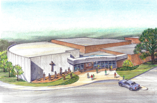 This is an architectural rendering of Newark Catholic's new Center for Performing Arts, a 500-seat auditorium that would be connected to the school's gymnasium.