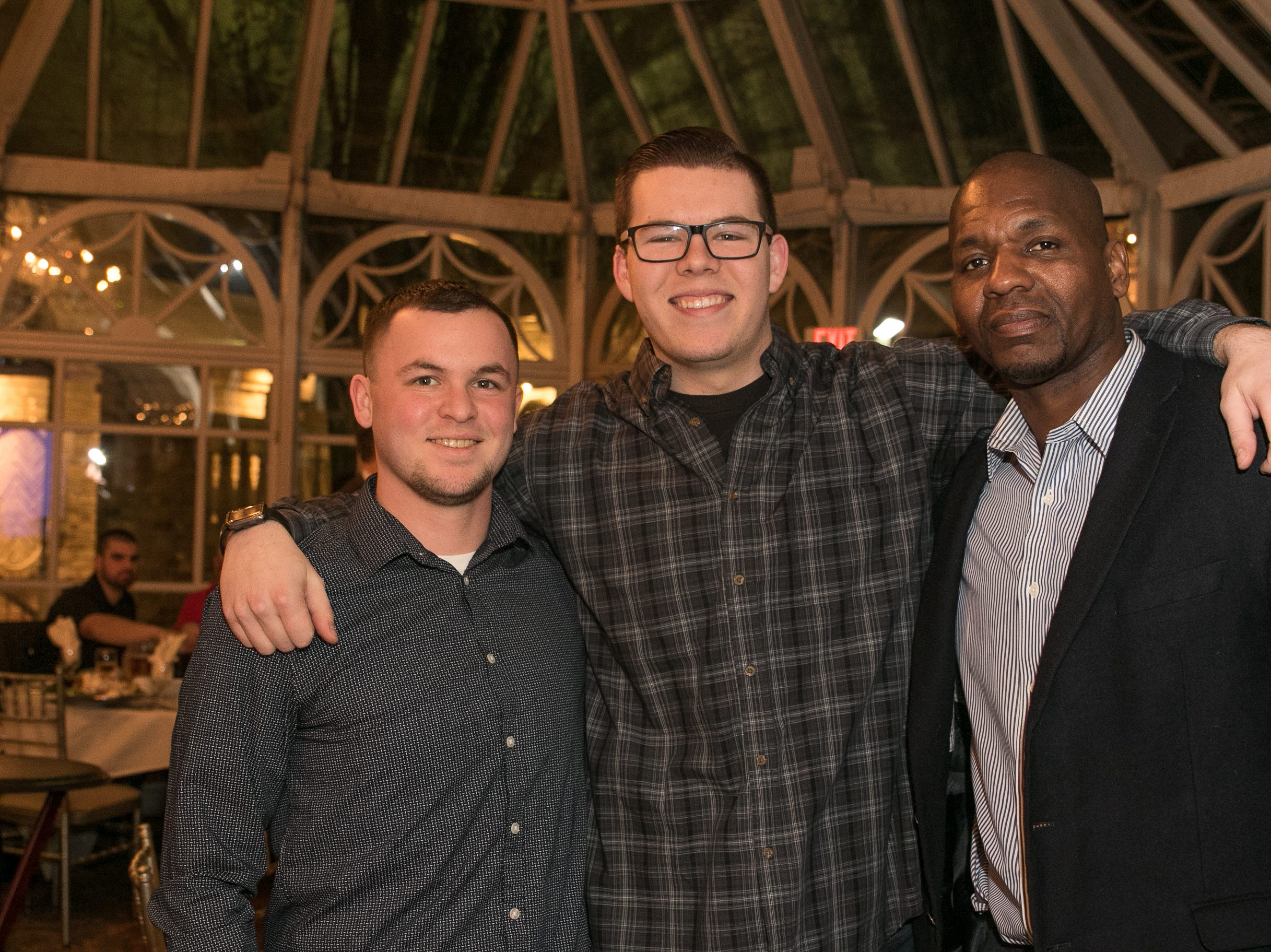 Tyler Post, Nick Johnson, former NY Giant Sam Garnes. Rebuilding Together North Jersey held its third annual Beefsteak Dinner with former NY Giants Howard Cross, Amani Toomer, and Sam Garnes at the Brownstone in Paterson. 03/07/2019