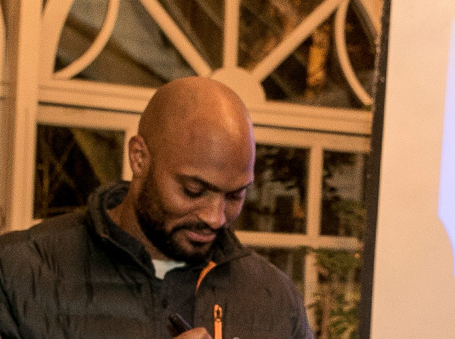Former NY Giant Amani Toomer. Rebuilding Together North Jersey held its third annual Beefsteak Dinner with former NY Giants Howard Cross, Amani Toomer, and Sam Garnes at the Brownstone in Paterson. 03/07/2019