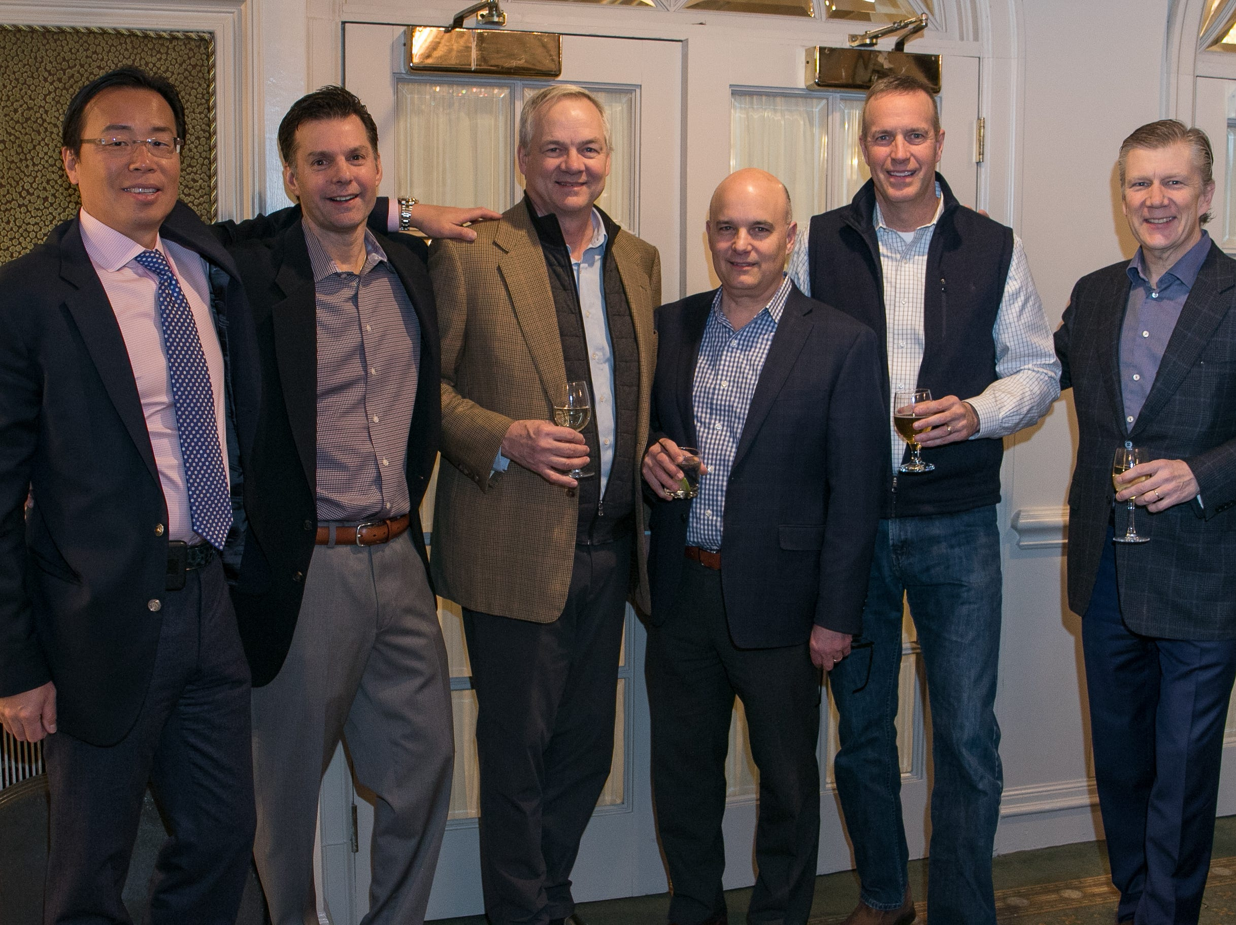 Dr. Michael Ro, Jim Mazzo, Paul Knight, David Parsekian, Jim Schneider, Scott Olsen. Rebuilding Together North Jersey held its third annual Beefsteak Dinner with former NY Giants Howard Cross, Amani Toomer, and Sam Garnes at the Brownstone in Paterson. 03/07/2019