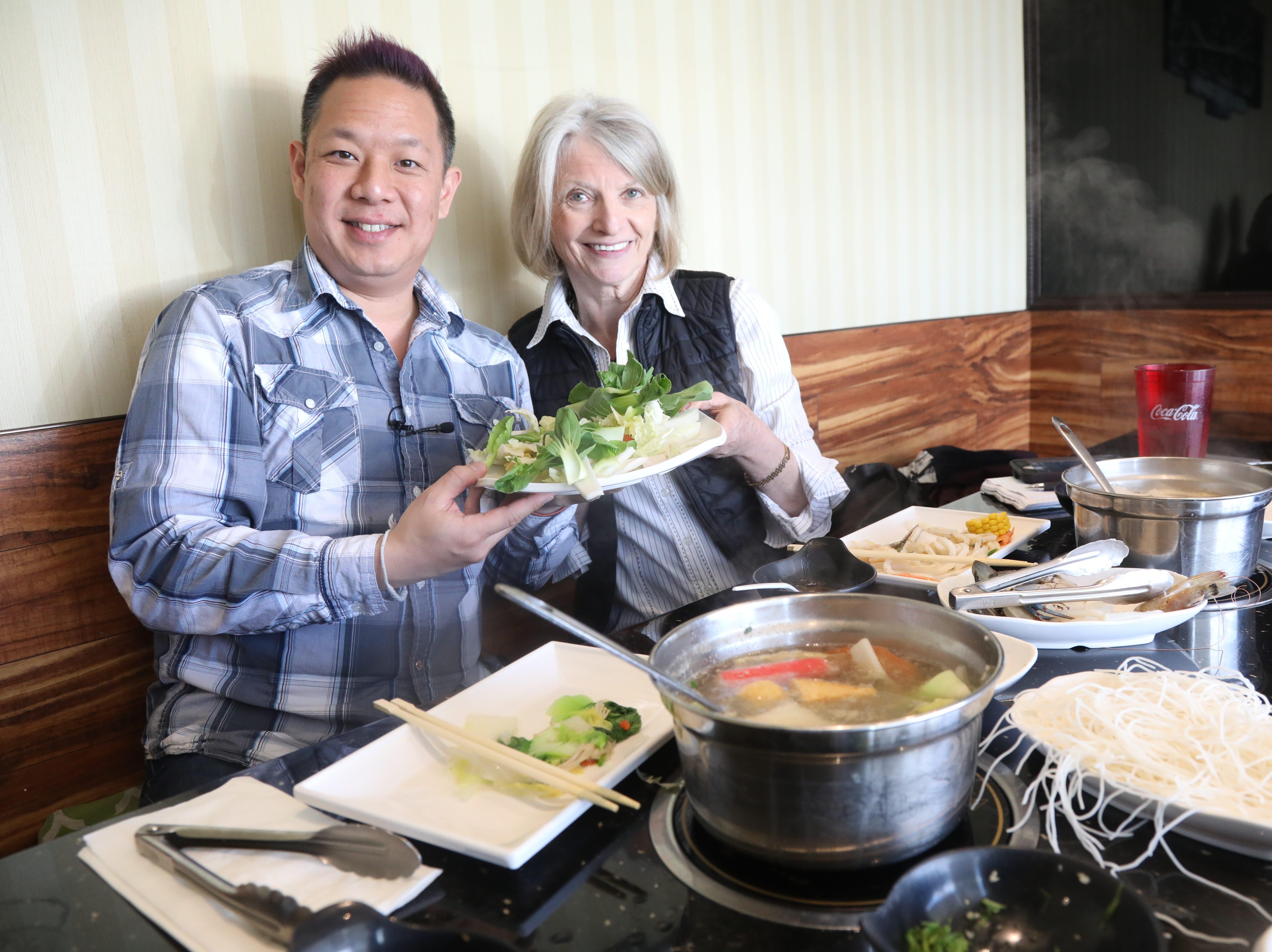 Food blogger Danny Chin and Esther Davidowitz at V-Yan Hotpot and BBQ.