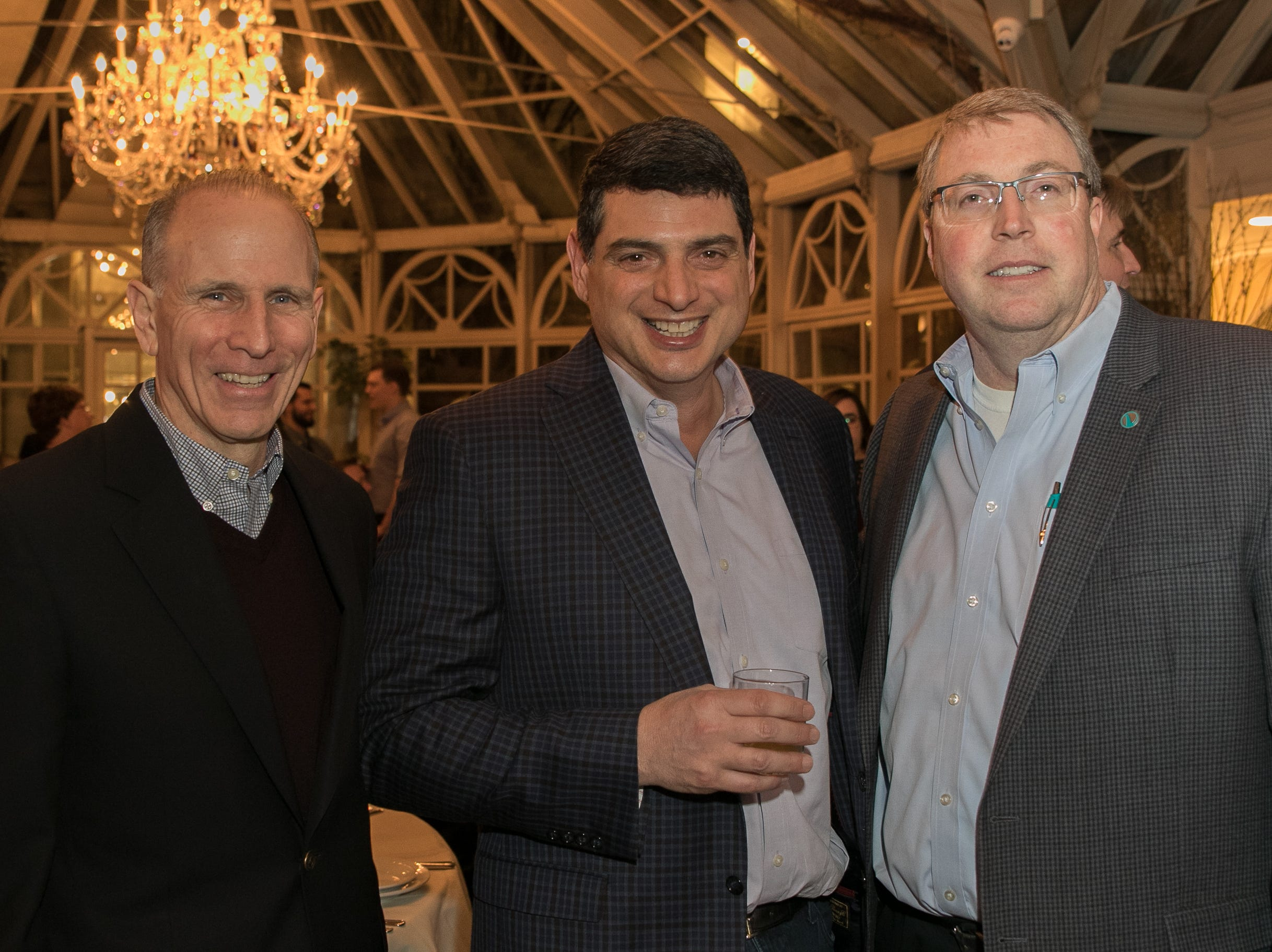 Brian McCarthy, John Bonfiglio, Steve Novak. Rebuilding Together North Jersey held its third annual Beefsteak Dinner with former NY Giants Howard Cross, Amani Toomer, and Sam Garnes at the Brownstone in Paterson. 03/07/2019