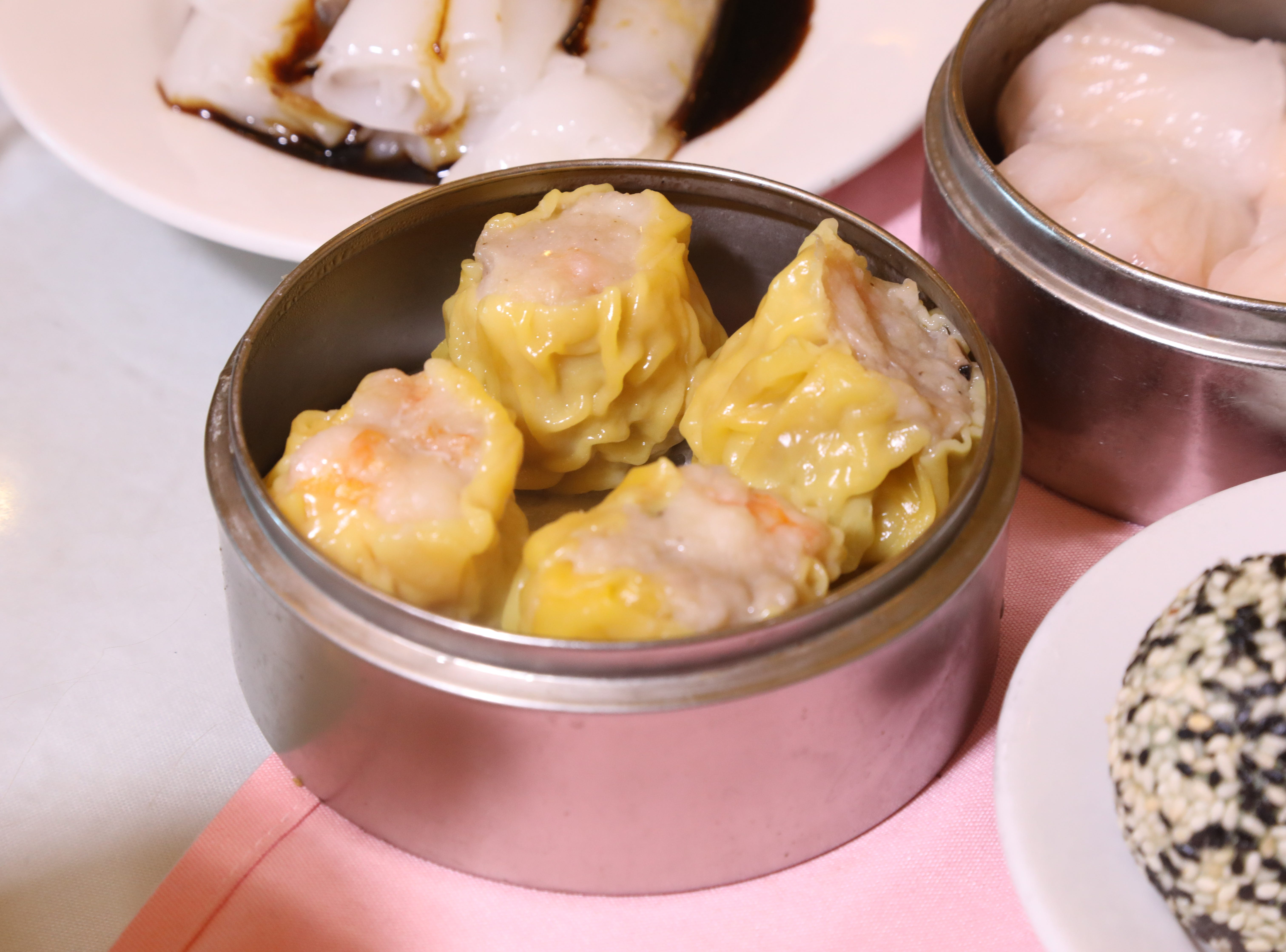 Siu Mai is shrimp and pork wrapped in a wonton, part of a large selection of appetizers at Noodle Wong.