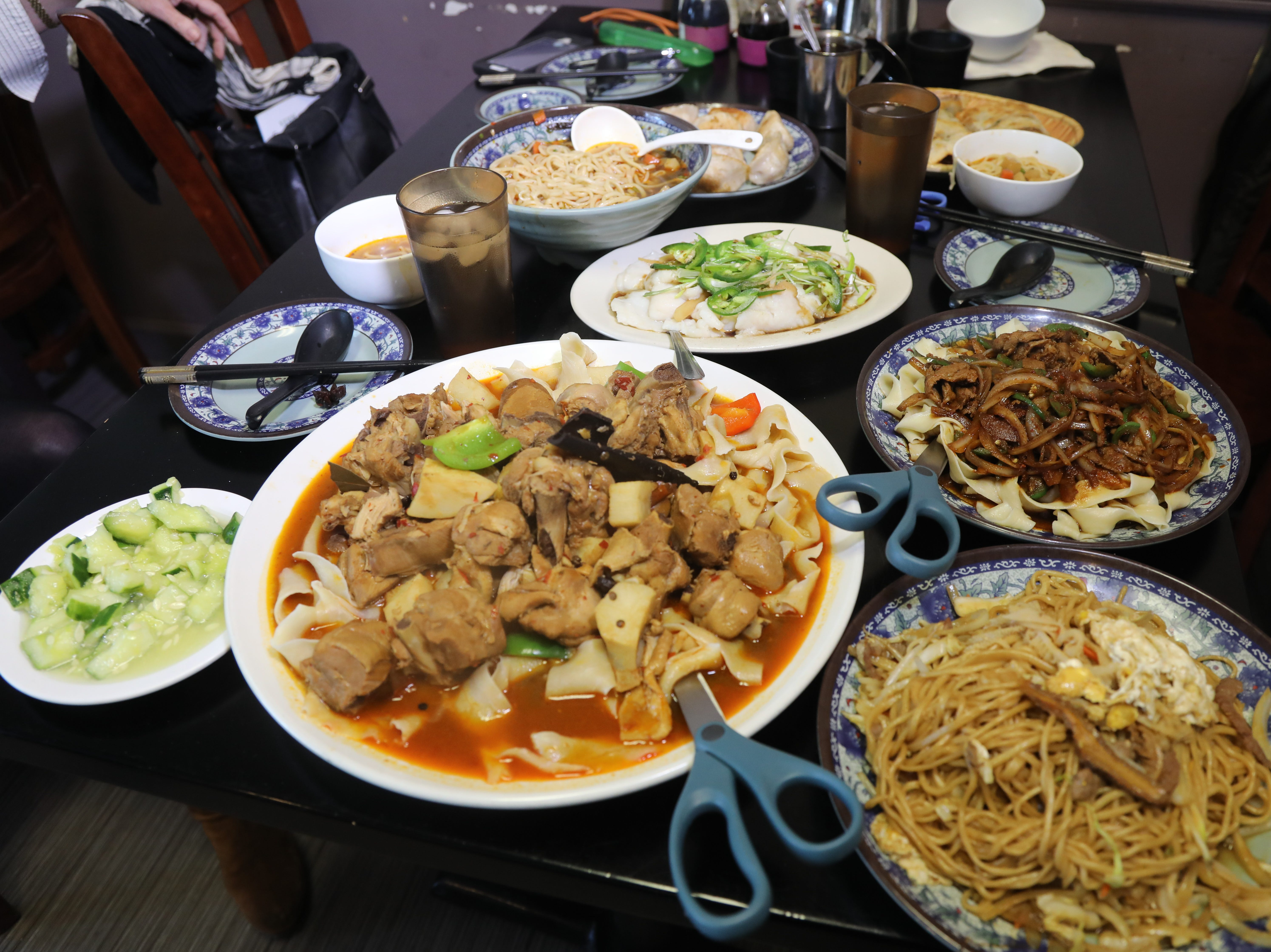A selection of dishes from Shan Shan Noodles.
