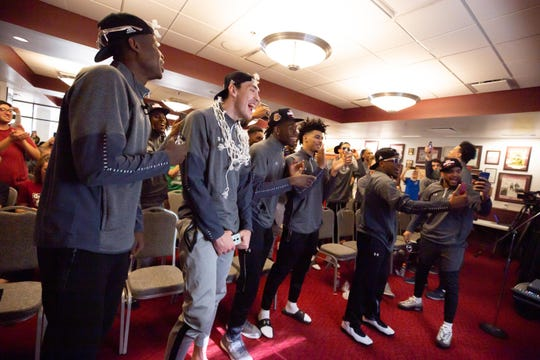 The Aggies react after finding out who they play in the first round of the NCAA college basketball tournament on March 17, 2019.