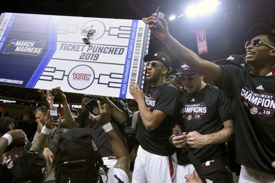 New Mexico State won its third straight WAC Tournament championship on Saturday, March 16, 2019.