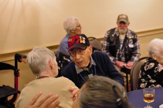 World War II veteran and Bataan Death March survivor Valdemar DeHerrera, hailing from Alamogordo, New Mexico, attended a reception for survivors in Las Cruces on Friday, March 15, 2019.