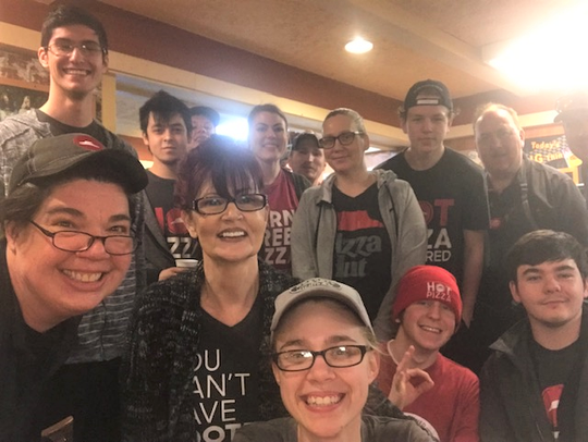 Pizza Hut staff during the restaurant's final Super Bowl Sunday.