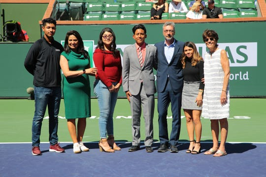 Local students and tennis players from Coachella Valley High School and Desert Mirage High School receive scholarships at the BNP Paribas Open in Indian Wells, Calif., March 16, 2019.
