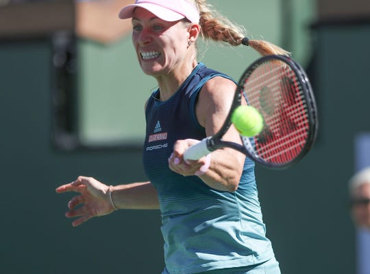 Angelique Kerber hits a shot during the finals match of the BNP Paribas Open against Bianca Andreescu in Indian Wells, March 17, 2019.