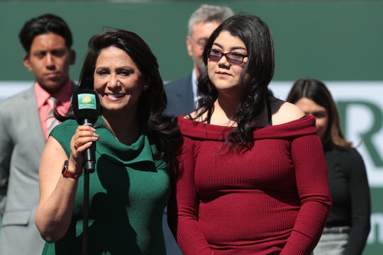 Desert Mirage High School student Maria Lopez recives a scholarship at the BNP Paribas Open in Indian Wells, Calif., March 16, 2019.