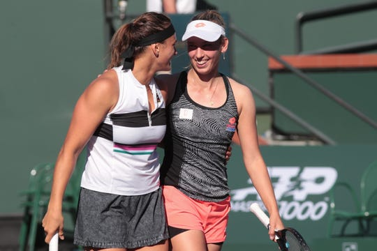 Elise Mertens and Aryna Sabalenka win the doubles finals of the BNP Paribas Open in Indian Wells, Calif., March 16, 2019.